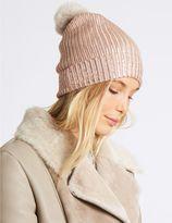 Marks and Spencer Foil Knit Pom Winter Hat