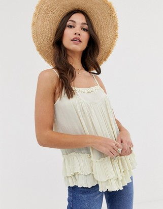 Asos DESIGN ruffle swing cami with faux shell detail