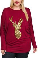 Celeste Burgundy & Gold Deer Dolman Tunic - Plus