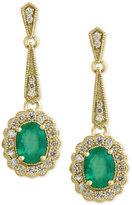 Effy Brasilica by Emerald (2-1/4 ct. t.w.) and Diamond (3/4 ct. t.w.) Flower Drop Earrings in 14k Gold