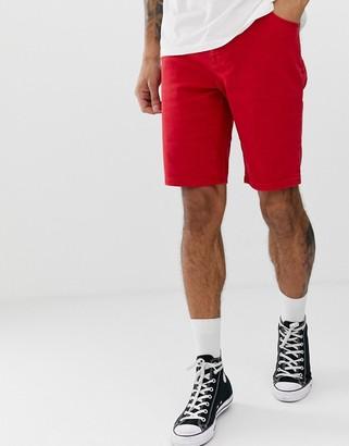 Asos Design DESIGN skinny denim shorts in red