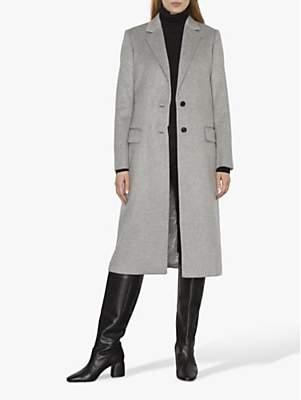 Jigsaw Wool Luxe Long City Coat, Grey