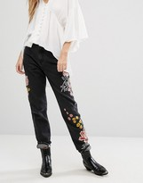 Glamorous Mom Jeans With Floral Embroidery