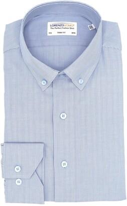 Lorenzo Uomo Textured Thin Stripe Stretch Trim Fit Dress Shirt