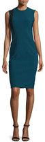 Yigal Azrouel Cross Jewel-Neck Contrast-Inset Dress, Kyanite/Multi