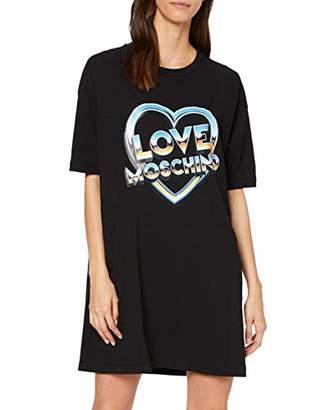 Love Moschino Women's Short Sleeve Stretch Jersey Dress_80s Logo & Heart Print,8 (Size: 40)