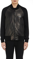 Givenchy Men's Leather Baseball Jacket-BLACK