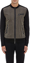 John Varvatos MEN'S STRIPED-FRONT ZIP SWEATER