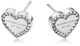 Michael Kors Heritage Stainless Heart Earrings w/Crystals