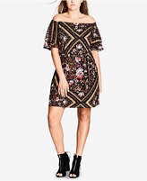 City Chic Trendy Plus Size Printed Off-The-Shoulder Dress