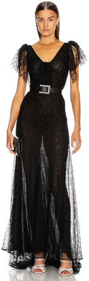 Alessandra Rich Long Lace Bow Dress in Black | FWRD