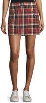 Rag & Bone Leah Cotton Plaid Mini Skirt w/ Leather Trim