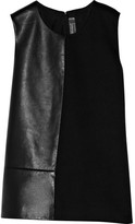 Reed Krakoff Leather and woven canvas top