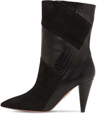 Aquazzura 85mm Calder Leather & Suede Boots