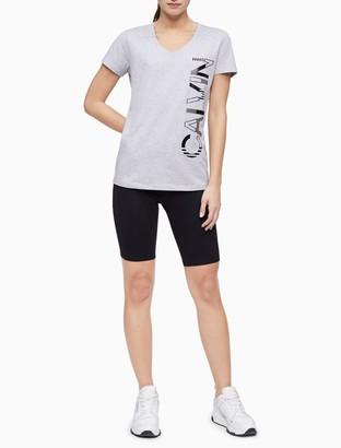 Calvin Klein Performance Striped Logo V-Neck T-Shirt