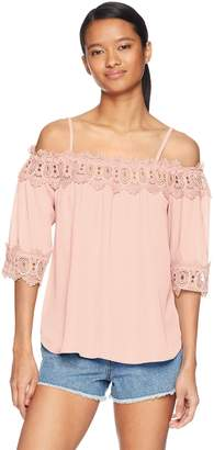 Amy Byer A. Byer Junior's Young Women's Teen Off The Shoulder Top with Crochet Trim