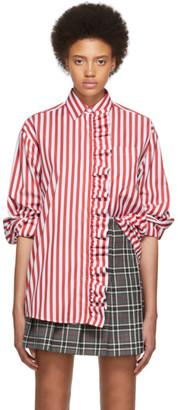 MSGM SSENSE Exclusive Red and White Stripe Shirt Dress