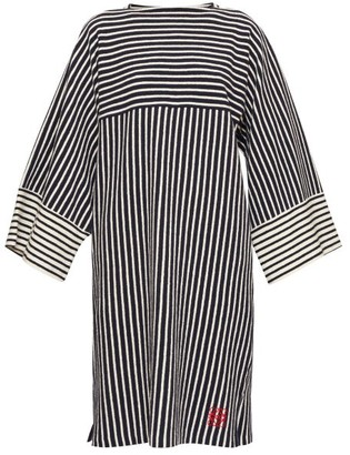 Loewe Striped Wide-sleeve Cotton-terry Dress - Navy Stripe