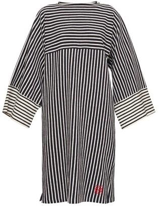 Loewe Striped Wide-sleeve Cotton-terry Dress - Womens - Navy Stripe