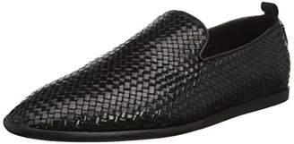 H By Hudson Men's Ipanema Leather Weave Loafer Black 01, 11 (45 EU)