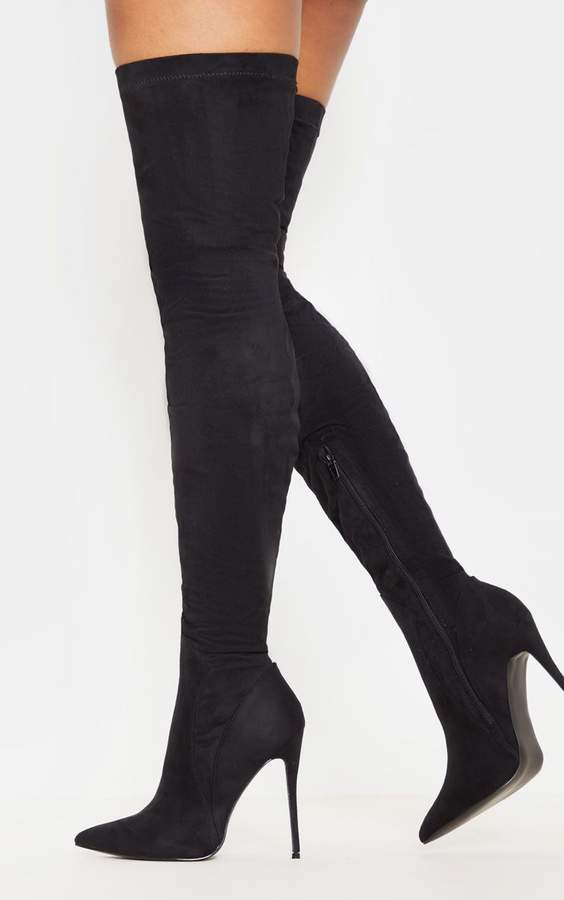 144a30d574b Emmi Black Faux Suede Extreme Thigh High Heeled Boots