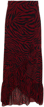 BA&SH Salvi Ruffled Zebra-print Georgette Wrap Skirt