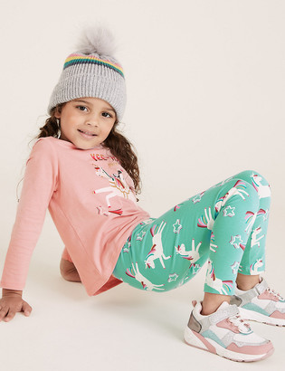 Marks and Spencer Cotton Unicorn Star Print Leggings (2-7 Yrs)