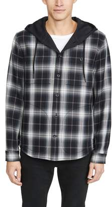 Vince Shadow Plaid Hooded Shirt Jacket