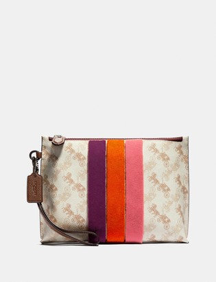 Coach Charlie Pouch With Horse And Carriage Print And Varsity Stripe