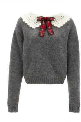 Miu Miu Crochet-knit Collar Mohair-blend Sweater - Grey