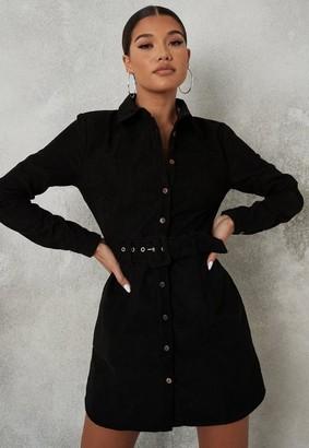 Missguided Black Cord Belted Skater Shirt Dress