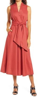 Anne Klein Sleeveless Cotton Midi Dress