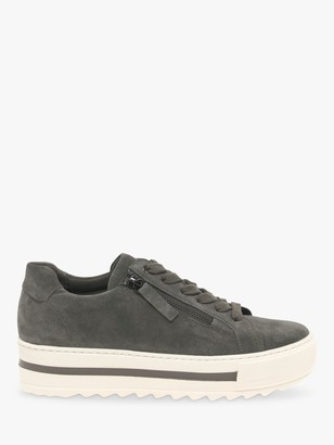 Gabor Heather Wide Fit Suede Flatfrom Trainers, Wallaby Dream