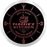 AdvPro Clock ncpc0736-r Flossie's Kitchen Open Bar Beer Neon Sign LED Wall Clock