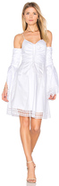 Nicholas Gathered Bell Sleeve Dress in White. - size 4 (also in )