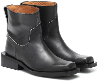 Ganni Low MC leather ankle boots