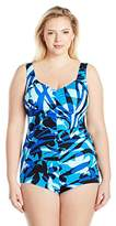Maxine Of Hollywood Women's Printed Key Largo Spa V-Neck Shirred Girl Leg One Piece Swimsuit
