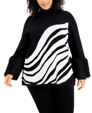 Alfani Plus Size Printed Faux-Fur-Cuff Sweater, Created for Macy's