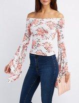 Charlotte Russe Floral Off-The-Shoulder Bell Sleeve Top