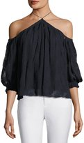 Rebecca Taylor Selina Embroidered Silk Top, Blue