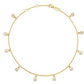 Bloomingdale's Diamond Bezel Droplet Ankle Bracelet in 14K Yellow Gold - 100% Exclusive
