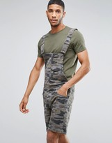 Asos Denim Short Overalls In Camo