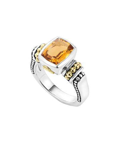 Lagos Caviar Color 10mm Citrine Ring, Size 7