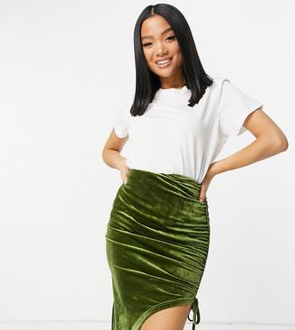 NaaNaa Petite ruched mini skirt in green velvet