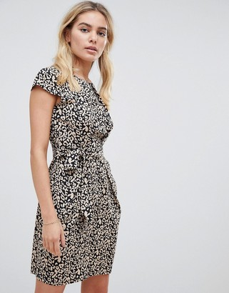 Qed London QED London leopard print tulip dress with pockets-Black