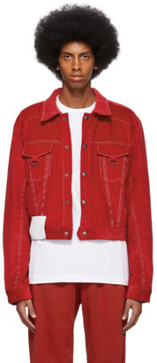 Pyer Moss Red Corduroy Trucker Jacket