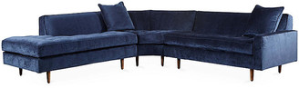 One Kings Lane Davia Left-Facing Sectional - Navy Velvet