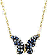 Lord & Taylor Sapphire, Diamond and 14K Yellow Gold Butterfly Pendant Necklace