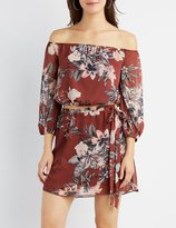 Charlotte Russe Floral Off-The-Shoulder Crop Top