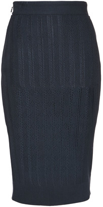 Herve Leger Pointelle-knit Pencil Skirt